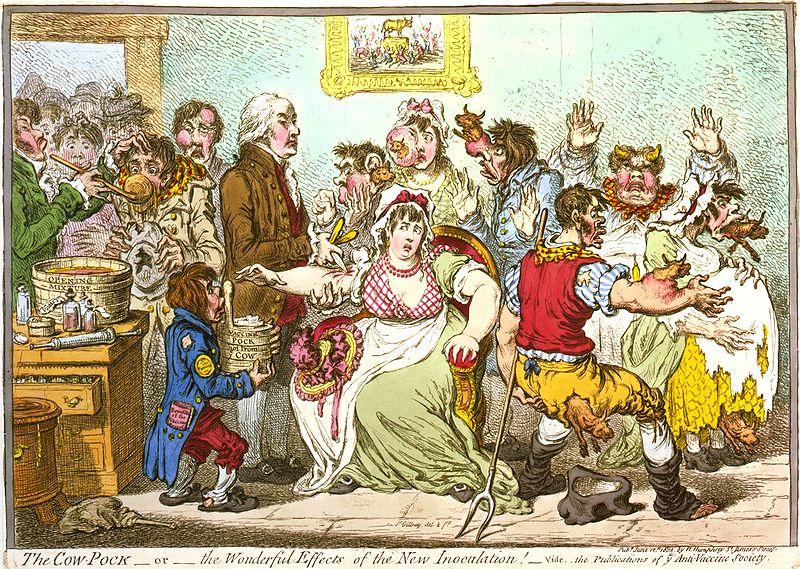 Karikatūra apie skiepijimą karvių raupais (Vikipedija.lt nuotr.)