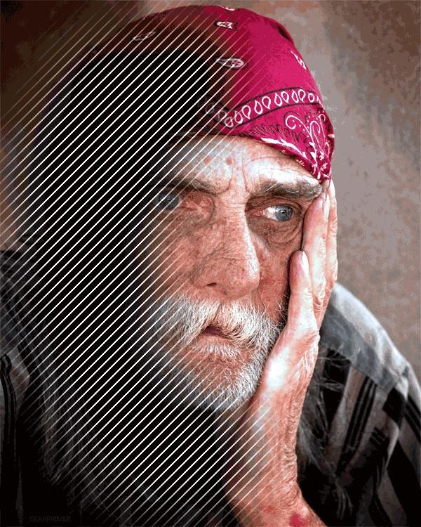 Migreninės auros metu regėjimo lauke atsiranda įvairios geometrinės figūros ar skotomos, kurios trukdo aiškiai matyti. (media.giphy.com nuotr.)