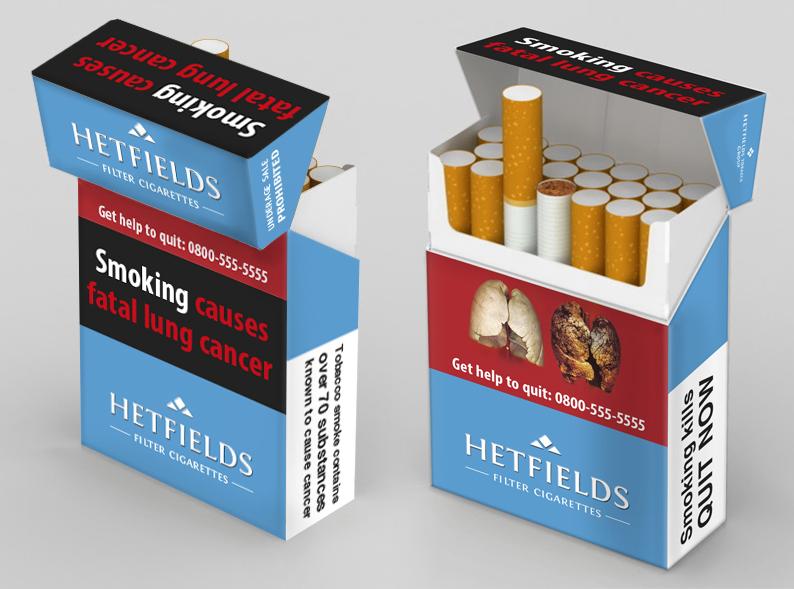 Vienas iš cigarečių pakelių dizaino pavyzdžių.