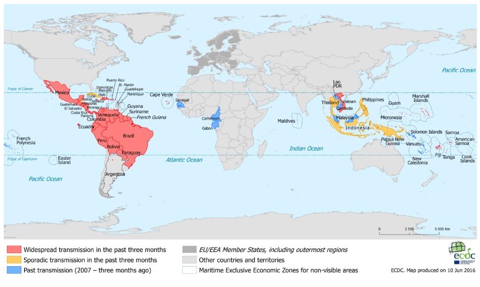 Zika viruso paplitimas pasaulyje.