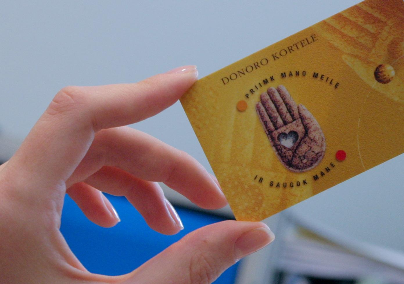 Taip atrodo donoro kortelė. Ją galima užsakyti ir internetu: transplantacija.lt.