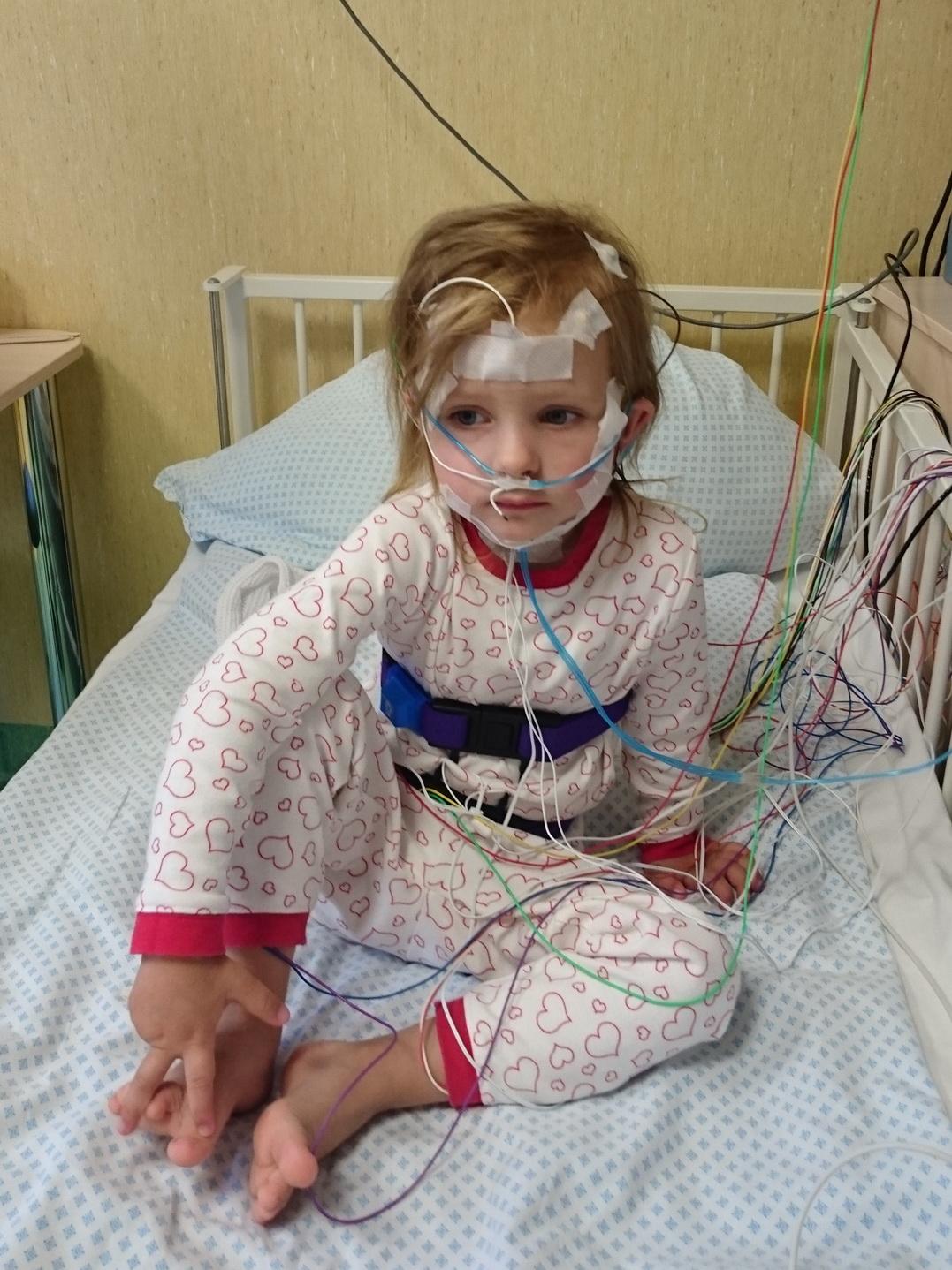 Pirmoji Vaikų ligų klinikos pacientė, kuriai atlikta polisomnografija.