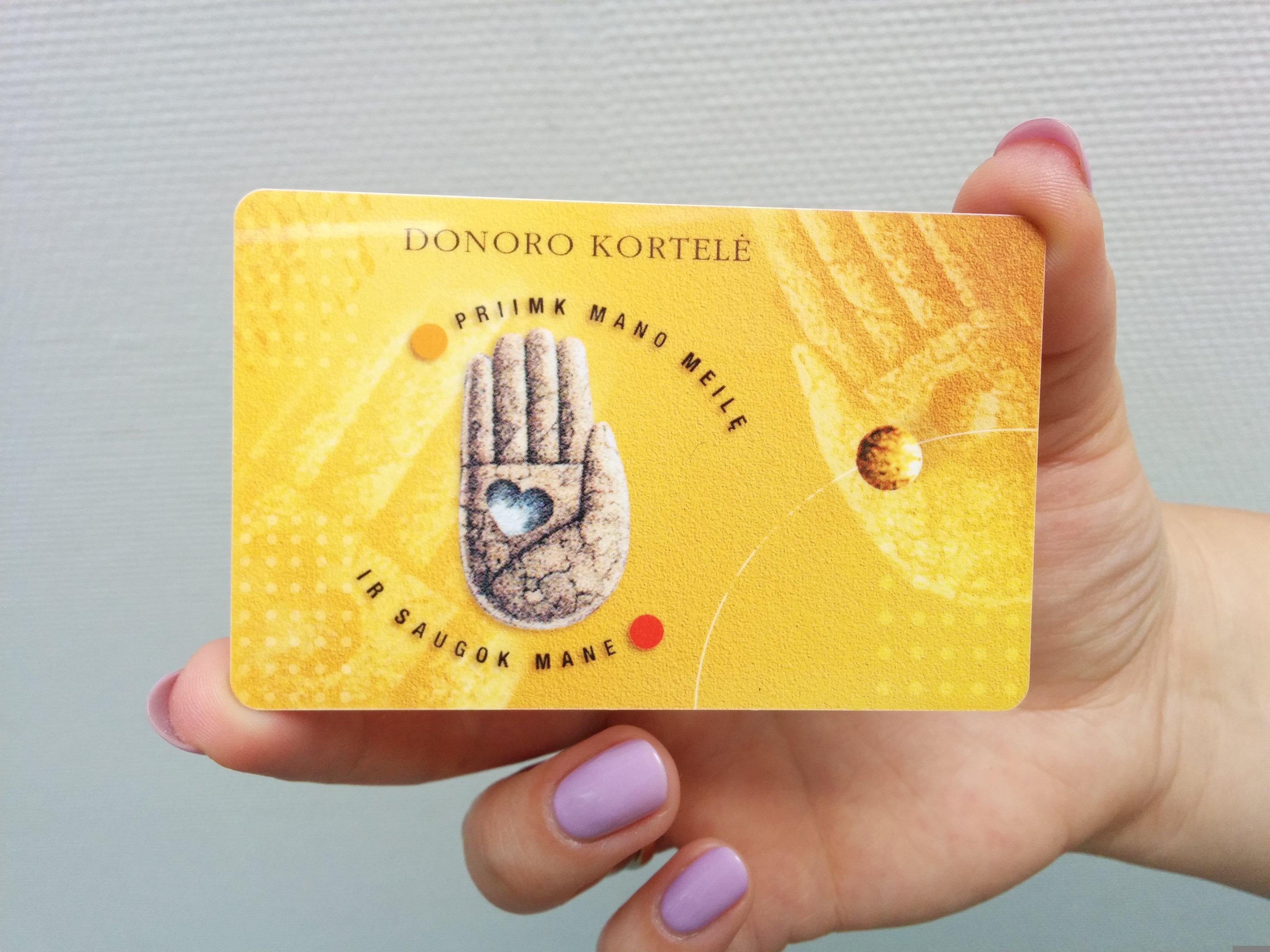 Donoro kortelė.
